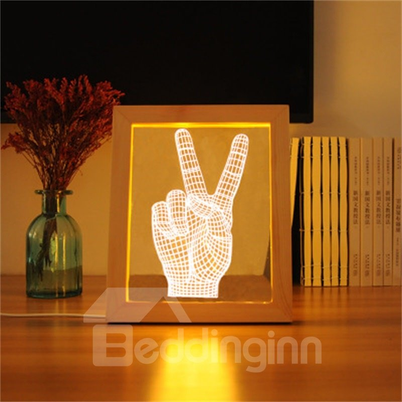 Wonderful Victory V-Sign Pine Frame Acrylic 3D LED Light Night