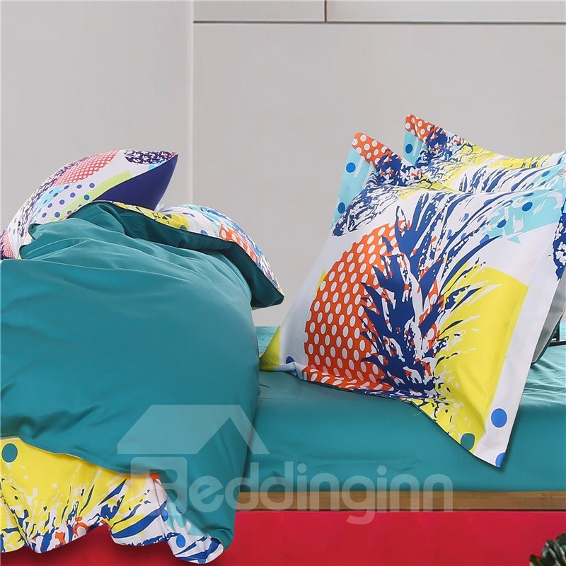 Adorila 60S Brocade Pineapple and Colorful Polka Dots 4-Piece Cotton Bedding Sets