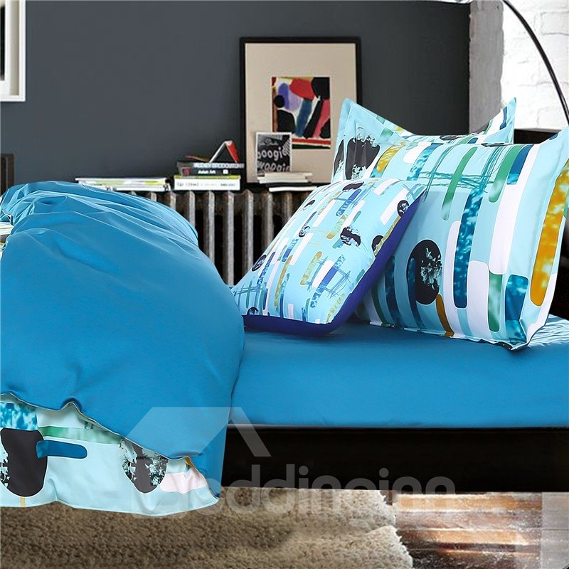 Adorila 60S Brocade Galaxy and Flowing Lines Lake Blue 4-Piece Cotton Bedding Sets