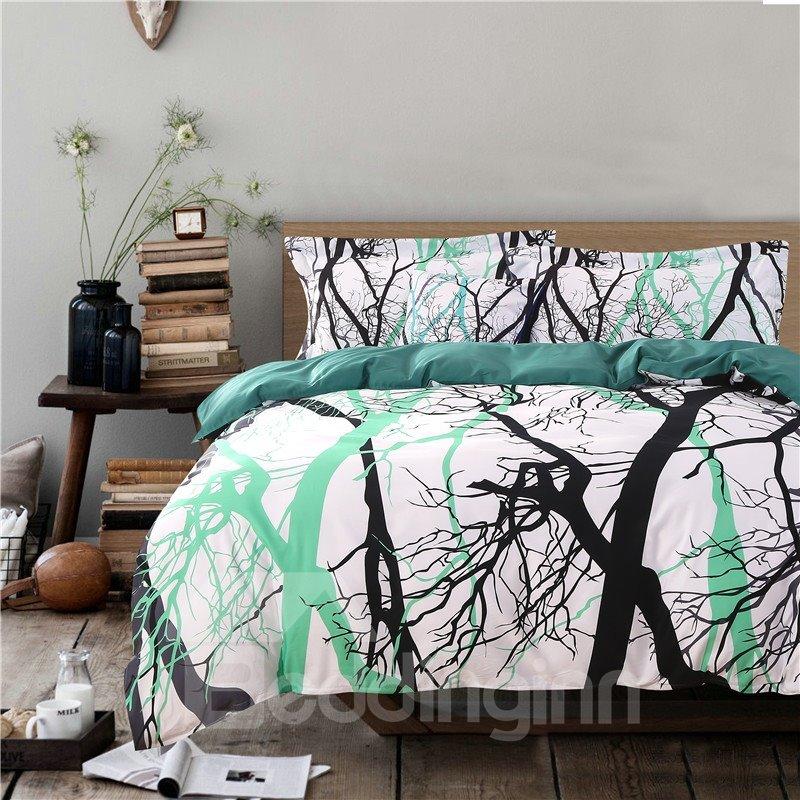Adorila 60S Brocade Tree Branches Light Green 4-Piece Cotton Bedding Sets/Duvet Cover