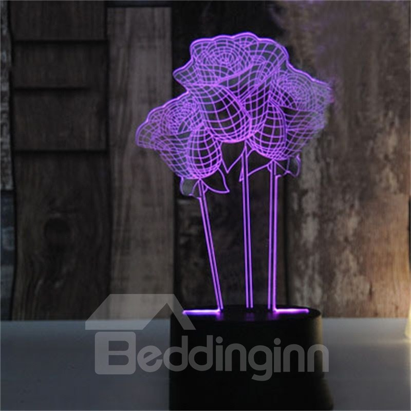 Creative Birthday Gift Concise and Modern Seven Color USB LED 3D Night Light