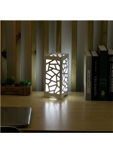 Concise and Modern North Wood-Plastic Hollowed-out European Style LED Lamp