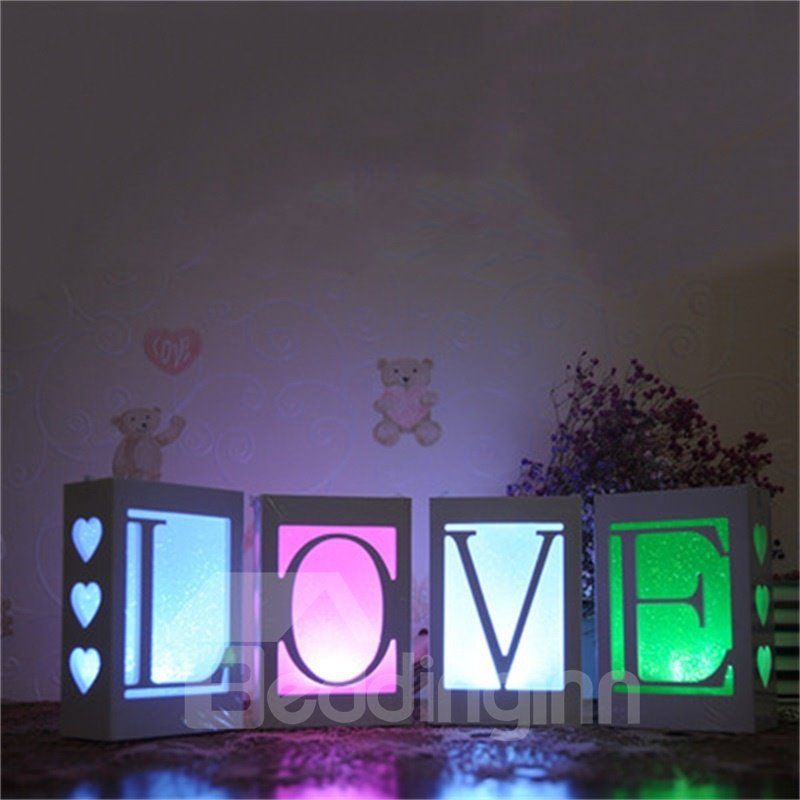 Concise and Romantic Style Birthday Gift Creative USB Letter Night Lamp