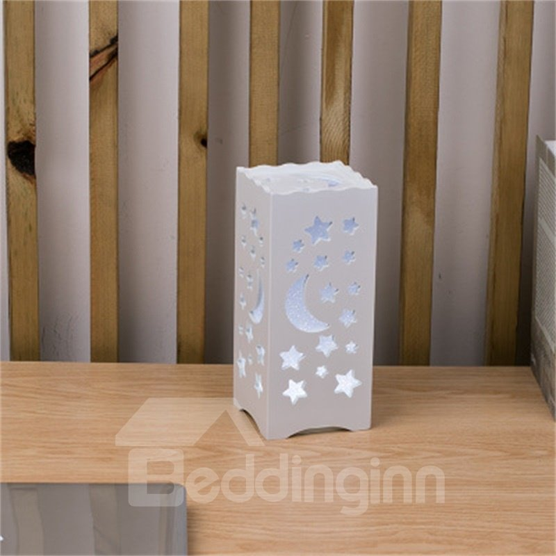 Concise and Modern North European Wood-Plastic Hollowed-out Moon and Stars LED Lamp