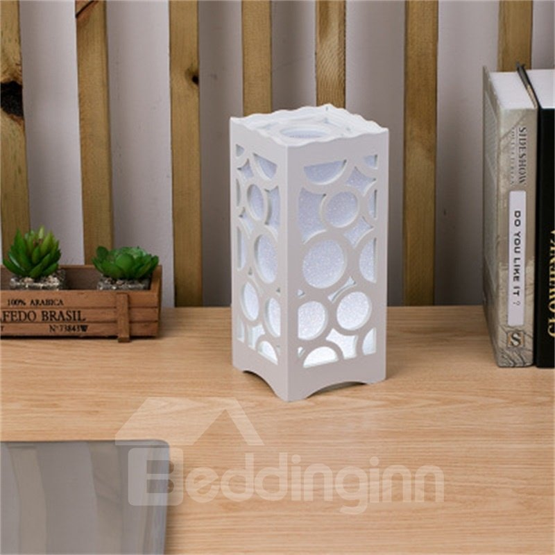 Concise and Modern European Style Wood-Plastic Hollowed-out Circles Birthday Gift LED Lamp