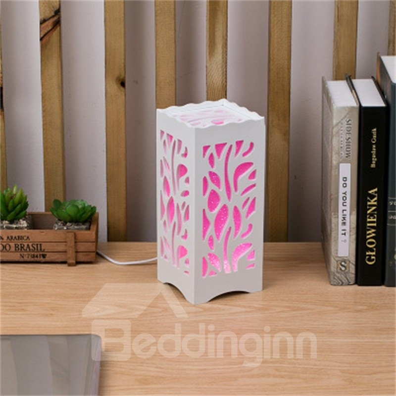 Concise and Modern North European Wood-Plastic Square Hollowed-out Flowers Birthday Gift LED Lamp