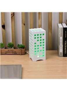 Concise and Modern North Wood-Plastic Hollowed-out Squares European Style LED Lamp