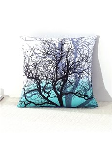 Tree Branches Cluster Printed Green Decorative Square Cotton Throw Pillowcases