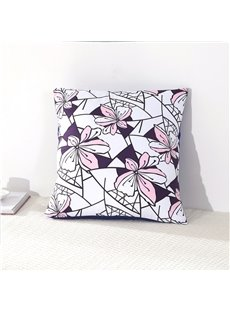 Pink Flowers Creative Design Decorative Square Cotton Throw Pillowcases