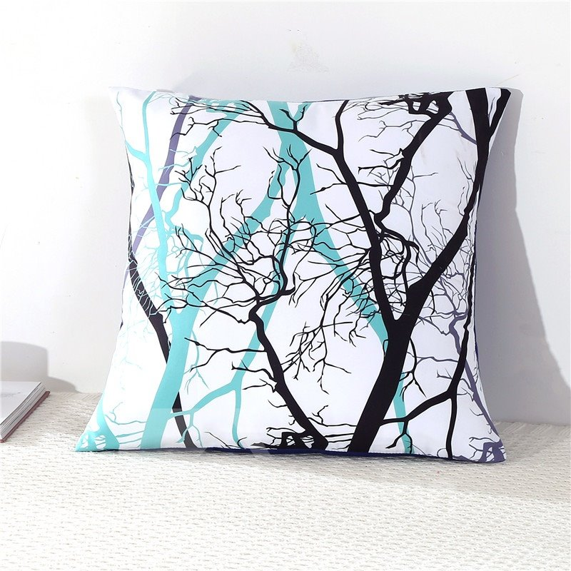 Tree Branches Light Green Decorative Square Polyester Throw Pillowcases