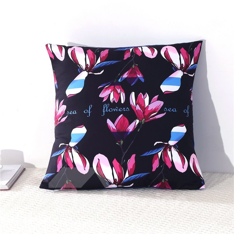 Multi-Color Magnolia Buds Printed Decorative Square Polyester Throw Pillowcases