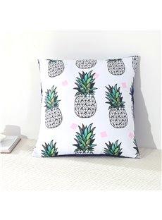 Green Pineapples Printed White Decorative Square Cotton Throw Pillowcases