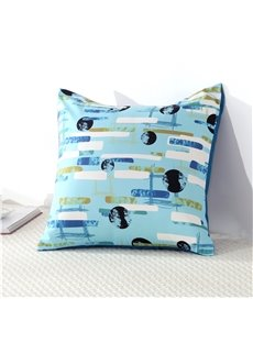 Galaxy and Flowing Lines Lake Blue Printed Decorative Square Cotton Throw Pillowcases