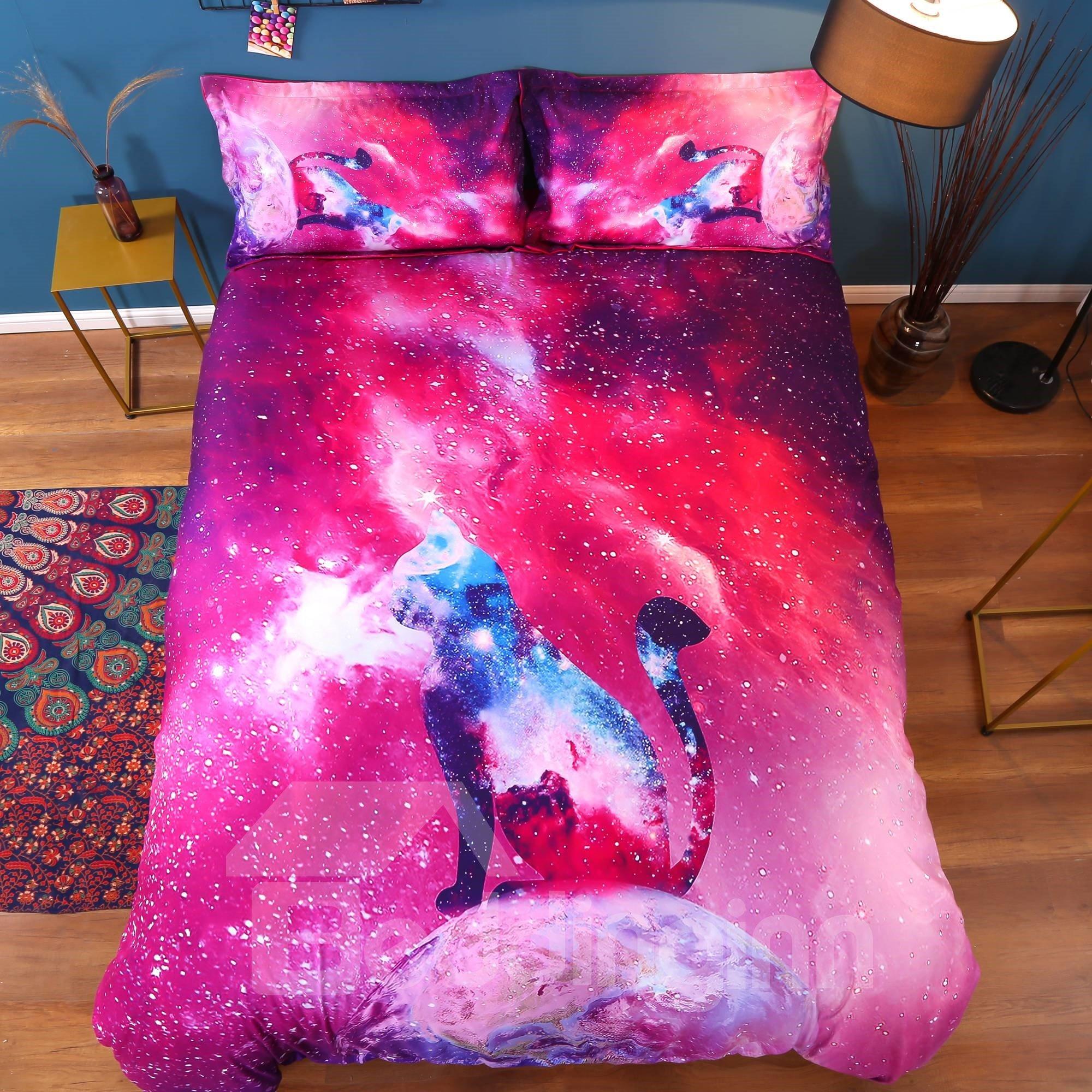 Vivilinen 3D Colorful Galaxy Cat Printed Cotton 4-Piece Bedding Sets/Duvet Covers