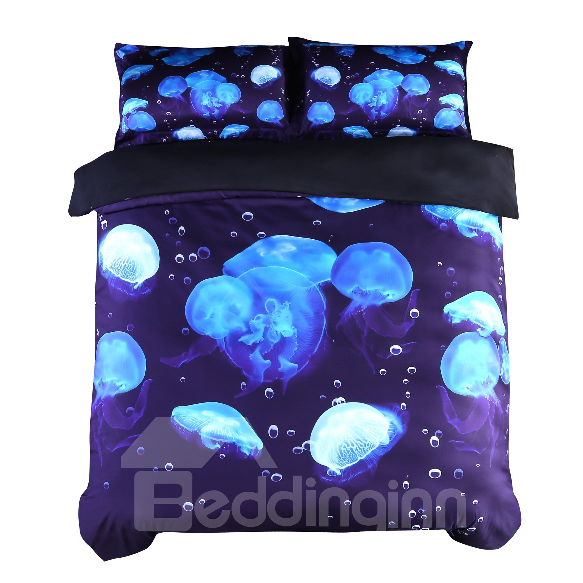 Floating Blue Jellyfish Printed Cotton 3D 4-Piece Bedding Sets/Duvet Covers