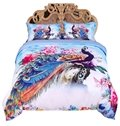 Peacock and Peony Watercolor Printed 3D 4-Piece Bedding Sets/Duvet Covers