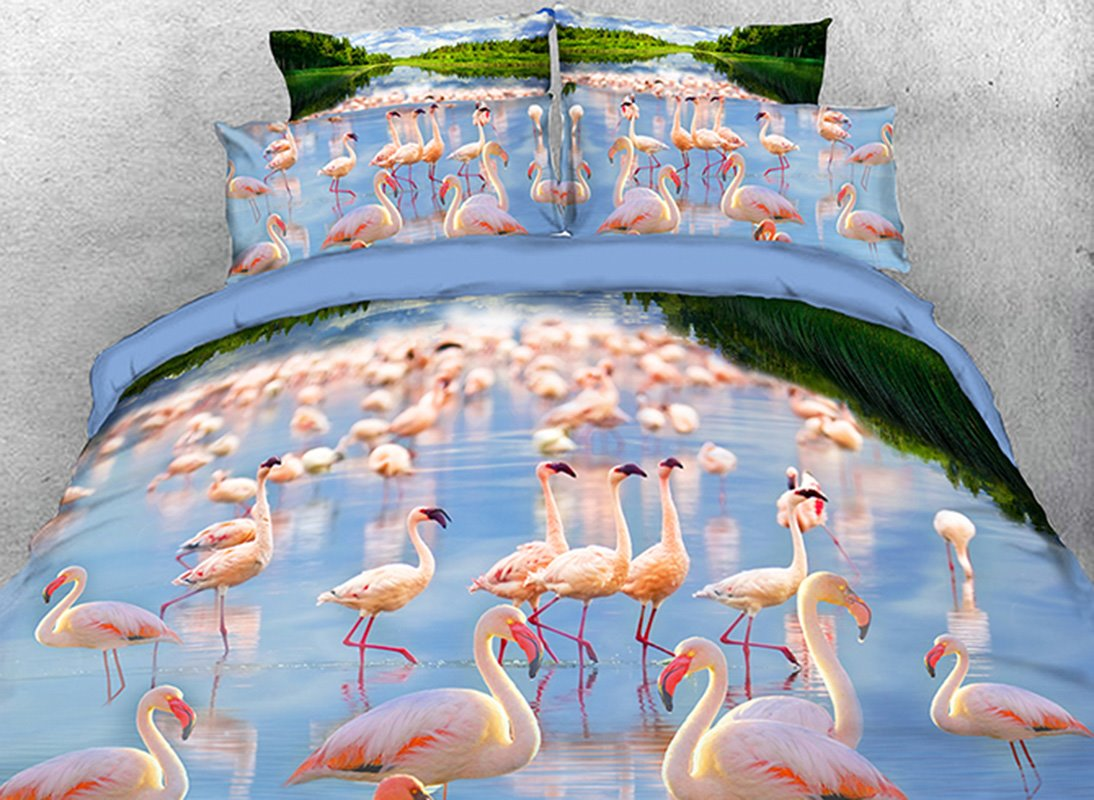 Vivilinen 3D Flamboyance in Water Natural Scenery 4-Piece Bedding Sets/Duvet Covers
