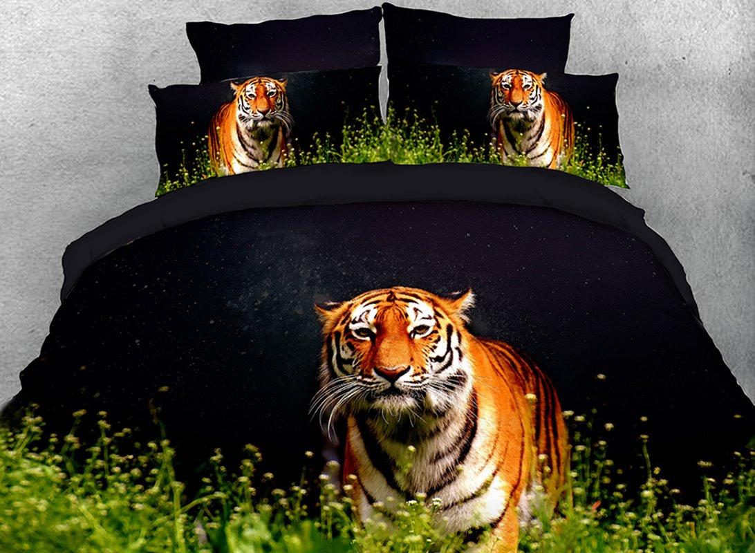 Vivilinen Tiger Walking in Grass Cotton 4-Piece 3D Black Bedding Sets/Duvet Covers