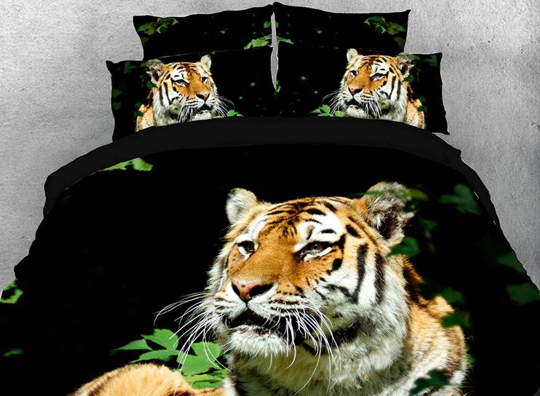 Vivilinen 3D Staring Tiger in Grass Cotton 4-Piece Black Bedding Sets/Duvet Covers