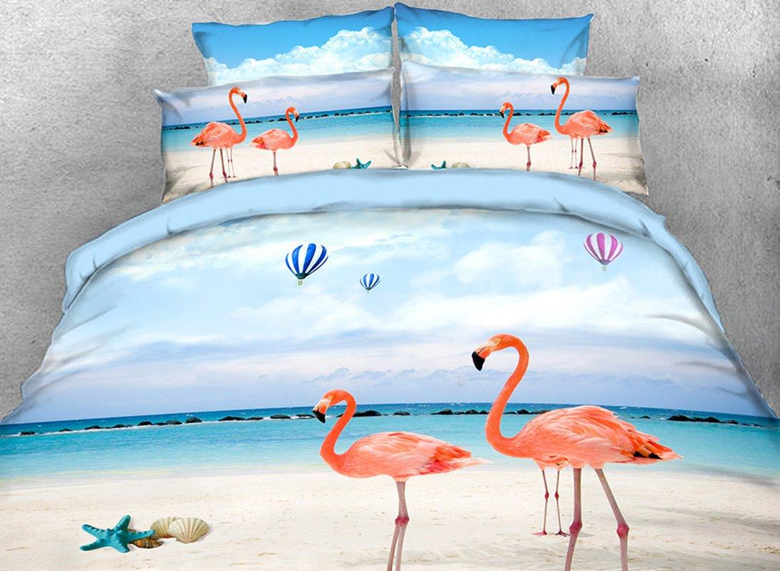 Vivilinen Pink Flamingo on the Beach Printed 4-Piece 3D Bedding Sets/Duvet Covers