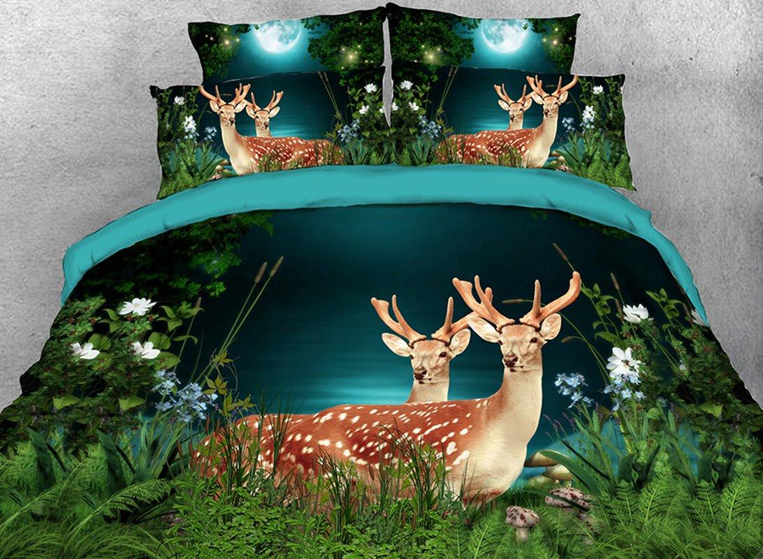 Vivilinen 3D Deer in the Forest Printed 4-Piece Bedding Sets/Duvet Covers