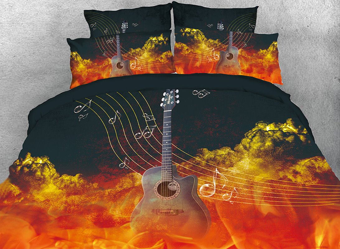 Guitar Musical Stave Note in Flaming Cloud 4-Piece 3D Bedding Sets/Duvet Covers