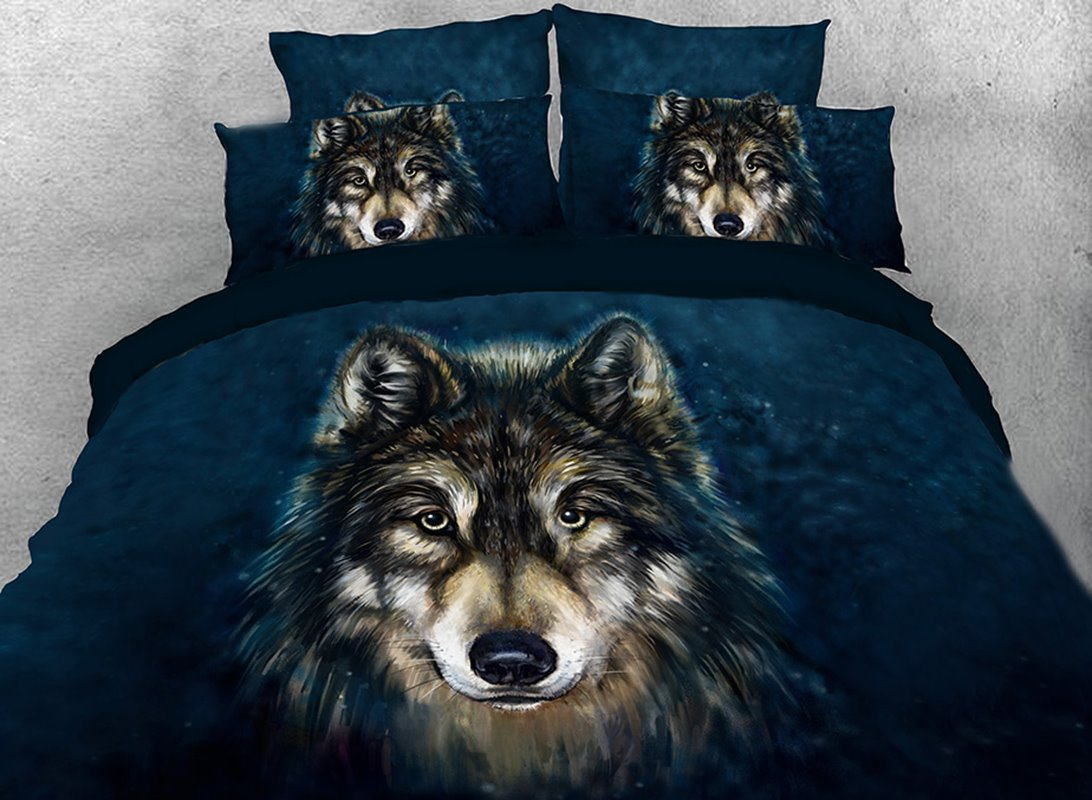 Wolf Face Printed 4-Piece 3D Bedding Sets/Duvet Covers