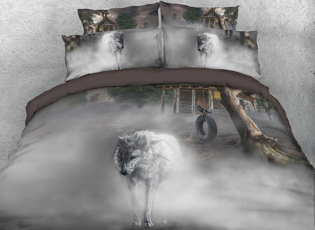 Vivilinen White Wolf Printed 4-Piece 3D Bedding Sets/Duvet Covers