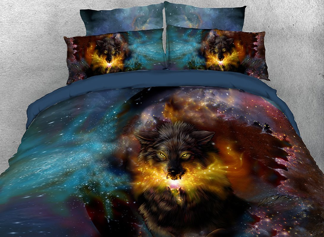 Wolf and Galaxy Printed 4-Piece 3D Bedding Sets/Duvet Covers