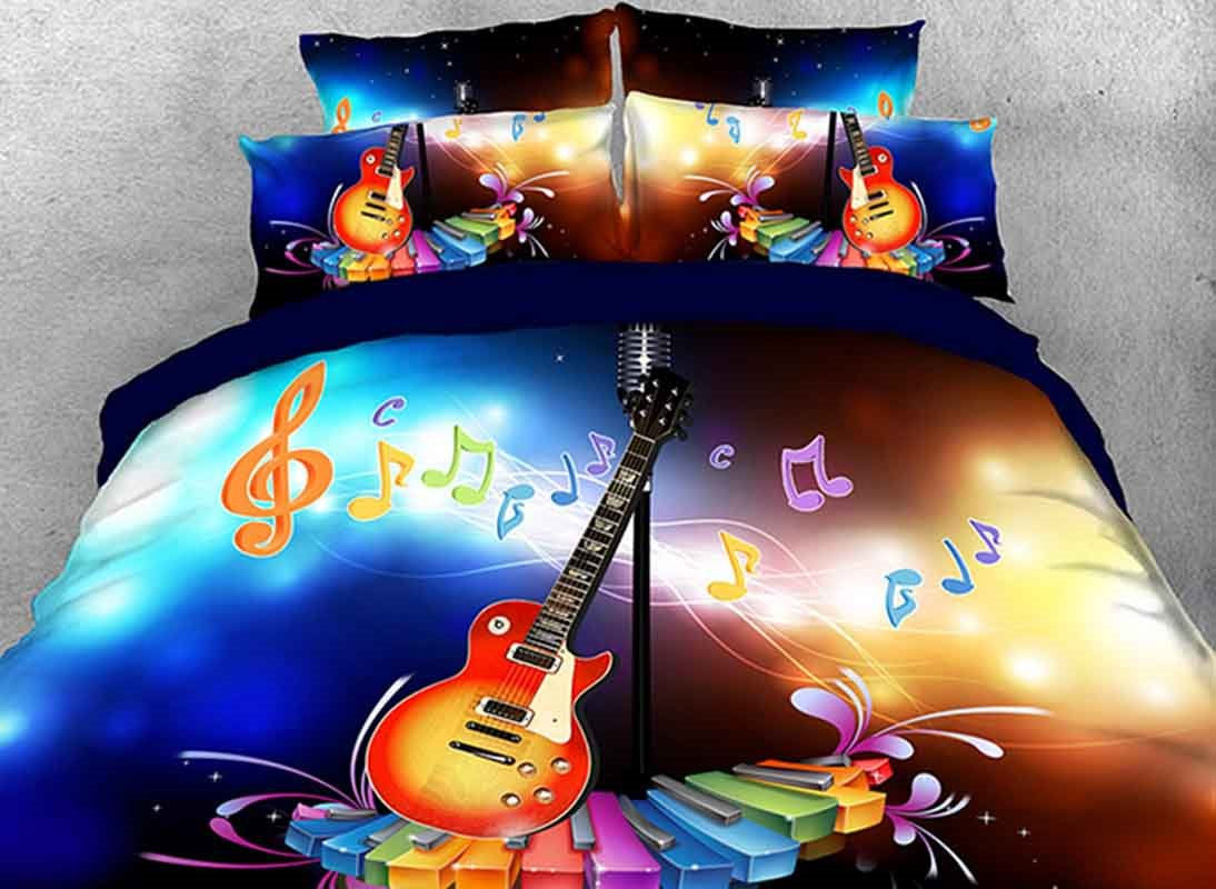 Vivilinen Dreamy Guitar with Colorful Piano Keys and Note Cotton 3D 4-Piece Bedding Sets/Duvet Covers