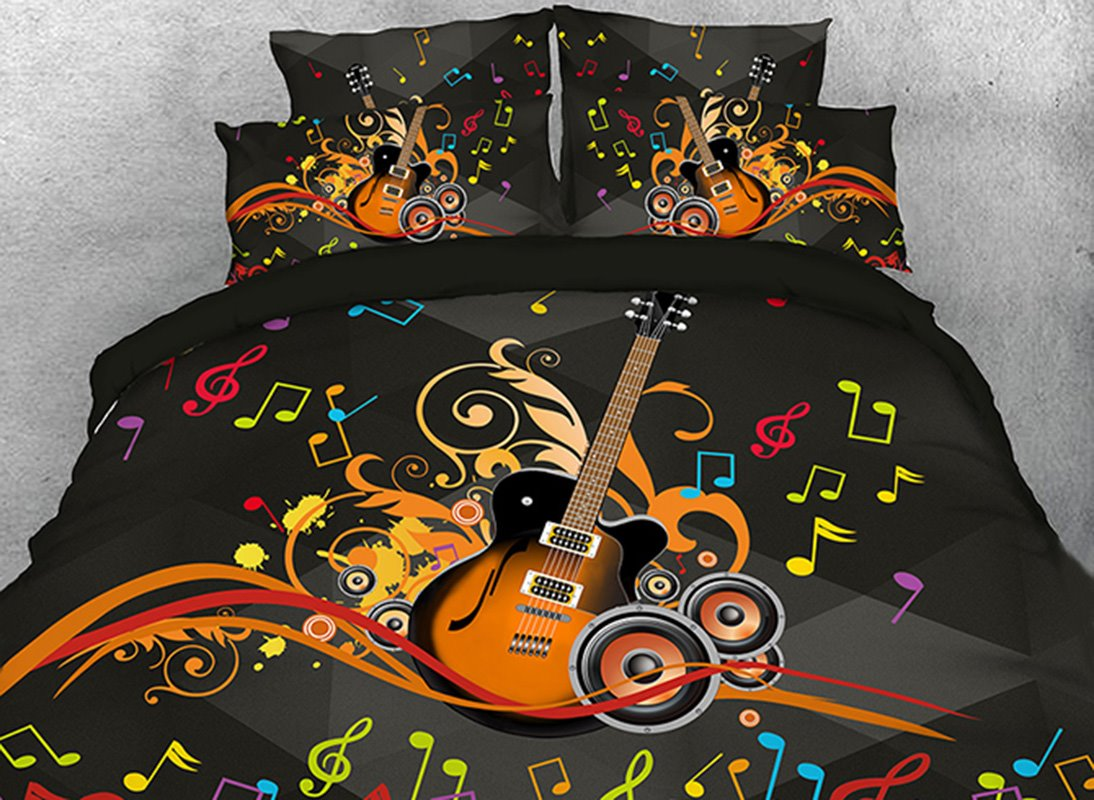 Vivilinen Guitar Speakers and Colorful Beating Note Cotton 3D 4-Piece Bedding Sets/Duvet Covers