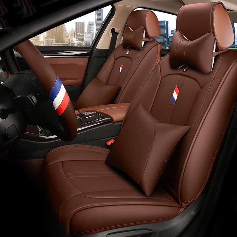 Energetic Sports Style Color Blocking Universal Leather Car Seat Cover