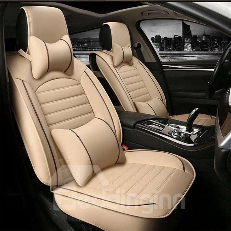 Luxury Striated Design Plus Two Bright Line Universal Leather Car Seat Cover