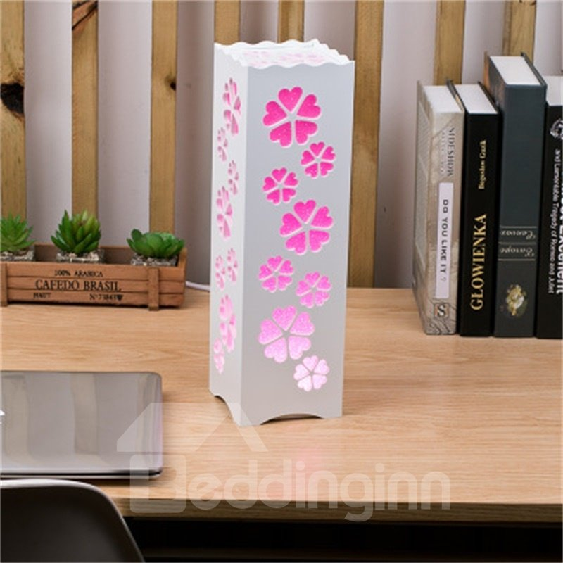 European Style Concise and Romantic Flowers Creative Wood Plastic USB Night Lamp