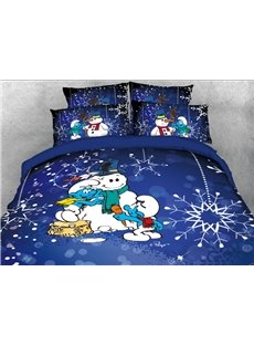 The Smurfs Building Snowman and Snowflake 4-Piece Blue Bedding Sets/Duvet Covers