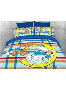Baby Smurf with Moon Plaid Printed 4-Piece Bedding Sets/Duvet Covers