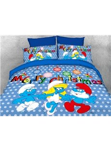 Merry Christmas with the Smurfs 4-Piece Blue Bedding Sets/Duvet Covers