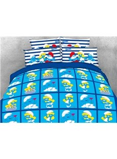 Sweet Smurf and Smurfette in Love Printed 4-Piece Blue Bedding Sets/Duvet Covers