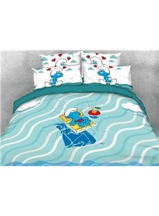 Smurf Sunbathing Beach Holiday Printed 4-Piece Bedding Sets/Duvet Covers