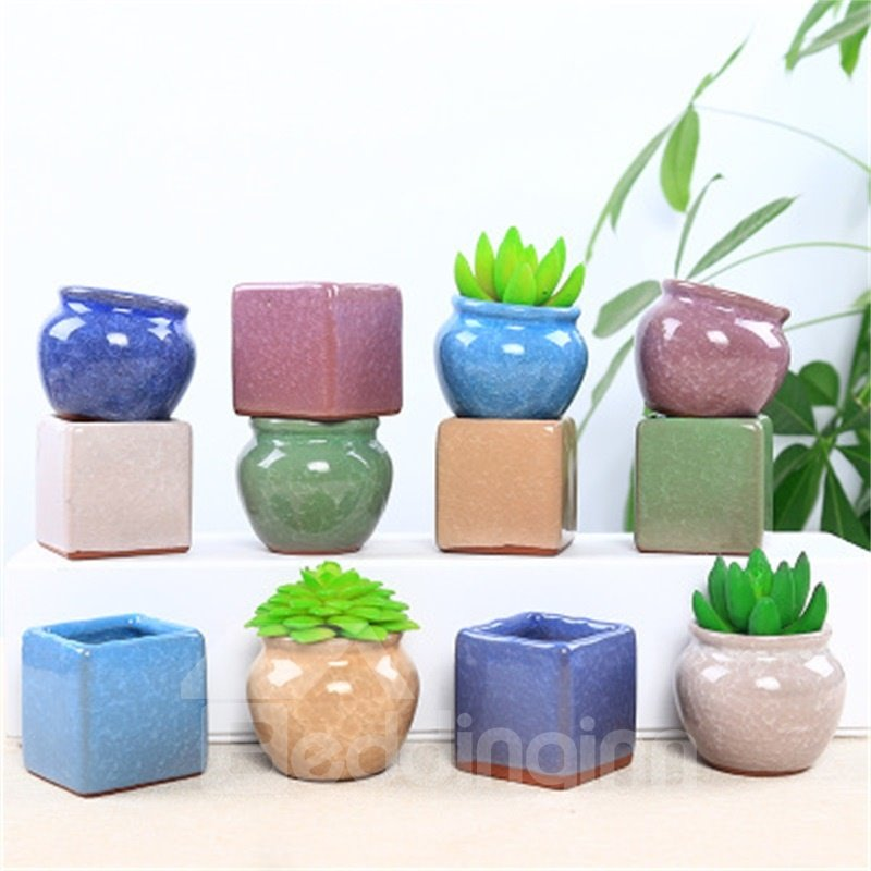 Creative and Delicate Style Four-sided with Stout Shape Colorful Lovely Ceramics Succulent Pots