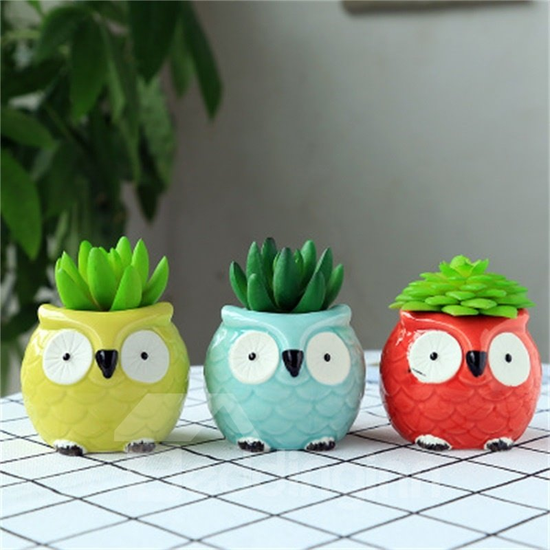 Creative and Elegant Style Owl Shape Three Colors Lovely Ceramics Succulent Pots