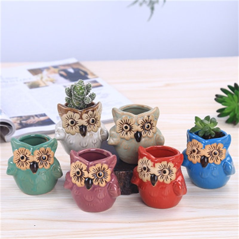 Delicacy and Creative Owl Shape Lovely Ceramics Succulent Pots