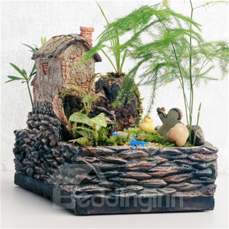Elegant Imitation Stone Farm courtyard Resin Creative Succulent Pots