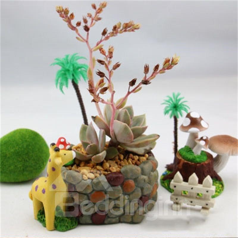 Creative and Elegant Cobblestone Imitation Lovely Giraffe Resin Succulent Pots