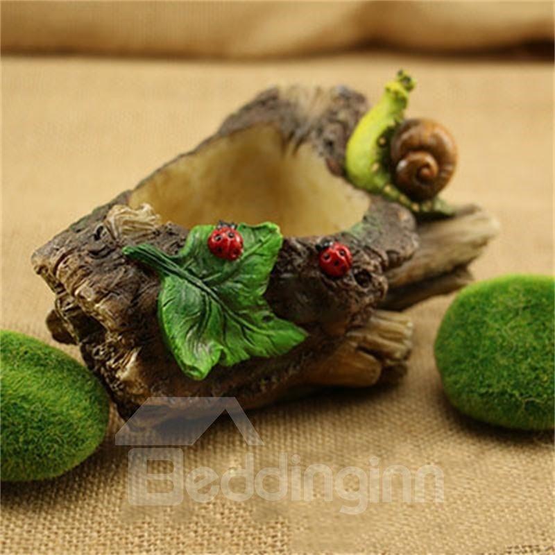 Vivid Snail and Green Leaf Imitation Stump Home Decoration Flower Pot