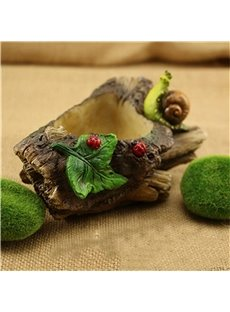 Vivid Snail and Green Leaf Imitation Stump Home Decoration Flower Pot