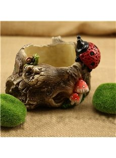 Corrosion Resistance Stone Imitation Resin with Lovely Ladybirds Plant Pot
