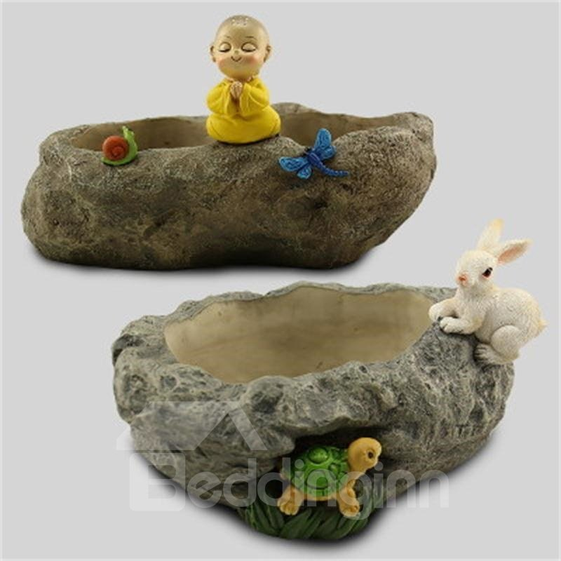 Modern and Creative Stone Imitation Kid and Butterfly Plant Pot