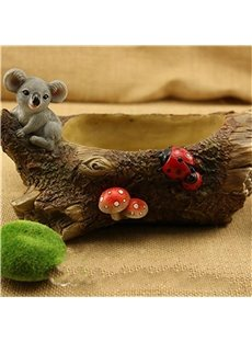 Modern and Creative Stone Imitation Rat and Mushrooms Plant Pot