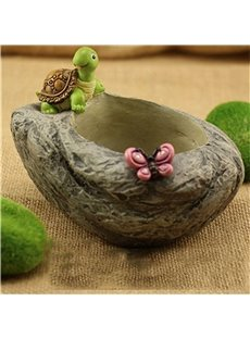 Creative Stone Imitation Lovely Turtle and Butterflies Succulent Pots